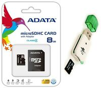 Adata 8GB Micro SD SDHC MicroSD Flash Memory with Adapter 8 GB + USB Card Reader