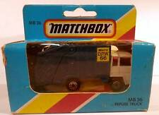 Matchbox MB 36 Refuse Garbage Truck White Cab COE w/Blue Heil Colectomatic Body