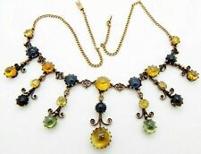 Edwardian 14k Citrine, Blue Topaz, Peridot Festoon Fringe Necklace Choker