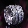 Luxury White Sapphire CZ Wide Wedding Ring 925 Silver Engagement Band Jewelry