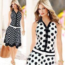 Women Fashion Polka Dot Sleeveless V-neck Print Dress One-piece Dresses Free P&P