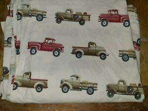 "Pottery Barn Kids ""Brown/Red Trucks"" Twin Flat Sheet"