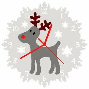 EnjoyYourTime Christmas Reindeer Clock 25cm (e9617)