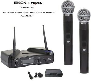 Proel EIKON WM300DM DUAL DOPPIO RADIOMICROFONO UHF + 2 PALMARI GELATO WIRELESS