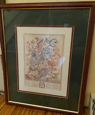 Robert Furber May Vintage Framed Matted Art Twelve Months Of Flowers Botanical