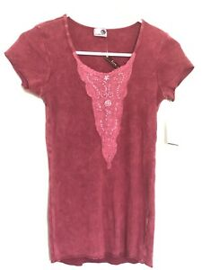 One World unity Red Embellished Micro Jersey Rhinestones Blouse ALL SIZES