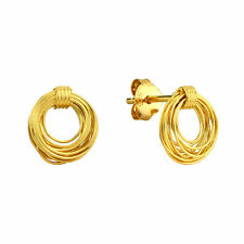 Infinite Ring Circles Gold-Plated Sterling Silver Stud Earrings
