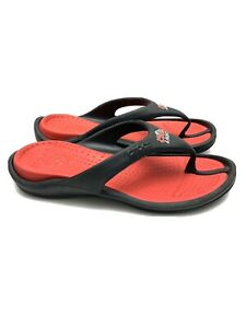 Crocs Thong Sandals Slip On Coors Light Black Red Men's Size 12