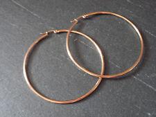 Damen Ohrringe Ohrhänger Creole 70 mm Edelstahl Farbe Rose Gold 1573