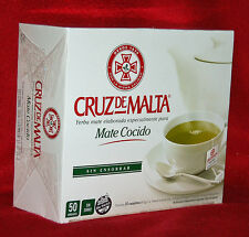 YERBA MATE TEA BAGS - CRUZ DE MALTA - 50 TEA BAGS - NOT INDIVIDUALLY WRAPPED