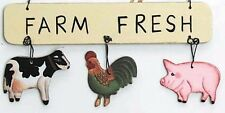 """COW PIG ROOSTER Cabin Lodge Sign Primitive Country Farm Ornament 5 X 2.5"""" Sign"""