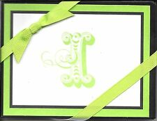 "Fancy Letter Initial I ""I"" Hallmark Green and Black Note Cards - Boxed Set of 10"
