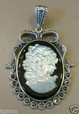 LARGE  MOTHER OF PEARL CAMEO ENHANCER , BLACK ONYX & MARCASITE PENDANT ENHANCER