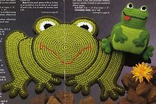TOADALLY COOL Froggie Rug & Pillow/Decor/Crochet Pattern INSTRUCTIONS ONLY