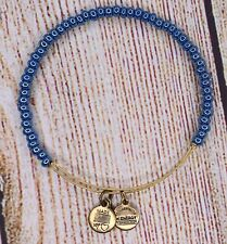 Alex and Ani Blue Twilight Shimmering Sea Bead Gold Bracelet