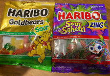 haribo sour gummies. Lot Of 2 Bags. Golden Bears Sours And Sour Spaghetti. New!