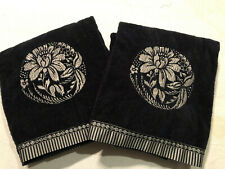 """Two AVANTI Bath Towels Embroidered Blue Silve Design 27""""X47""""' Cotton Modern Nice"""