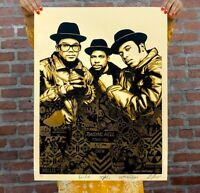 Obey Giant Shepard Fairey RUN-DMC Raising Hell Gold Signed/Numbered In Hand