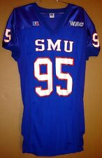 SMU Mustangs Chris Post Blue #95 NCAA Game Worn College Football Jersey