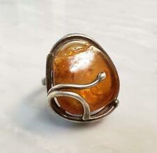 Vintage Sterling Silver Amber Ring ~ Size 7+ ~ 10.2 grams ~ 13-I6434