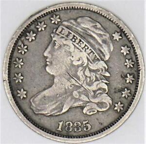 1835 Capped Bust Dime; JR-6, R-4; VF-
