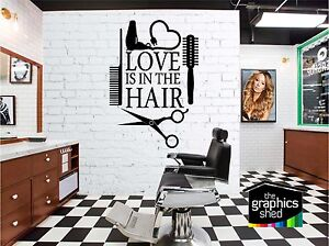love is in the hair Wall Art Quote Sticker Hair Beauty Salon Hairdresser nail