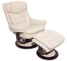 Barcalounger Roscoe Frampton Ivory Leather Pedestal Recliner Chair + Ottoman