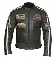 Herren Motorrad Chopper Leder Jacke.Biker Motorrad Retro Leder JAcke Gr M-5XL