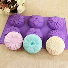 6 Cavity Purple Flower Silicone Cookie Candy DIY Handmade Soap Candle Mold Mould