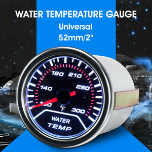 Universal 2'' 52mm Car  Water Temperature Gauge Meter Smoked Tin