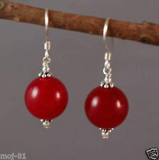 Natural 14MM Red Jade W. Gemstone 925 Sterling Silver Hook Dangle Earrings