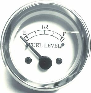 """Electrical Fuel Gauge in White Face 2"""" / 52mm chrome bezel"""