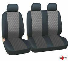 Vauxhall Opel Vivaro Movano Leatherette Diamond Look Grey - Black Seat Covers
