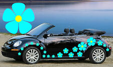 32,BLUE PANSY CAR DECALS WITH YELLOW CENTERS,STICKERS,GRAPHICS,BEETLE