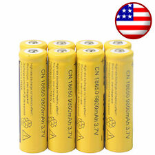 8x 18650 3.7V 9800mAh Yellow Li-ion Rechargeable Battery Cell For Torch