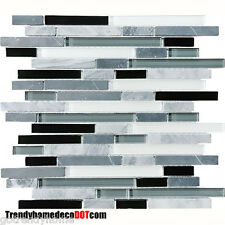 SAMPLE Gray black Glass marble Mosaic Tile backsplash Kitchen Backsplash Faucet