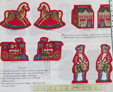 "Christmas Ornament Fabric Panel Toy Soldier Train ""Old Fashioned Christmas"""