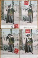 Opera / Theatrical Man SET OF FOUR 1907 French Fantasy Postcards: Raoul D'Alcala