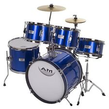 AM Percussion AMKD516 Kids Junior 5 Piece Complete BLUE Drum Set + Cymabls Stick