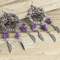 Hot Sale Handmade Purple Rhinestone Dream Catcher Tassel Earring Dangle Earring