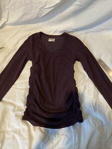 Athleta Women's S Long Sleeve Ruched Sides Shirt Lightweight Soft Black Purple