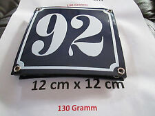 Hausnummer  Emaille Nr. 92  weisse Zahl auf blauem Hintergrund 12 cm x 12 cm
