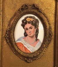 "Antique Limoges CAMEO Victorian Lady ""Woman in Red"" Portrait Hand Painted Framed"
