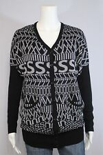 Material Girl Misses MEDIUM Black Gray Alphabet Dolman Cardigan Sweater