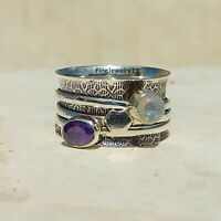 Amethyst Moonstone 925 Sterling Silver Spinner Ring Meditation Jewelry A53
