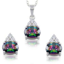 Simulated Mystic Rainbow Topaz Sterling Diamond Oval Drop Earring Necklace Set