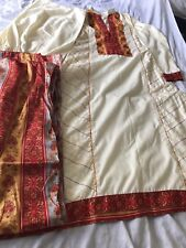 red and cream cotton kameez shalwar suit
