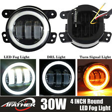 2X 4inch 3000Lm Round White Angel Eye Halo LED Projector Fog Light 4X4 ATV Truck