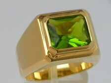 11 X 9 mm August Green Peridot Birthstone Men's Solitaire Jewelry Ring Size 12