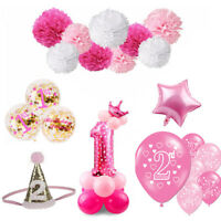 Pink Theme Girl Baby Shower Foil Balloon Banner Set Birthday Party Decoration